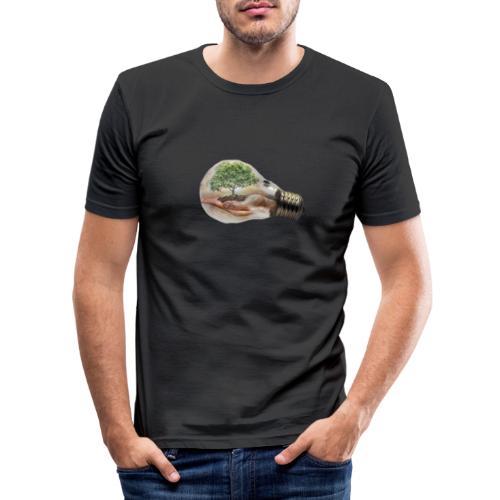 Baum und fliege in einer Glühbirne Geschenkidee - Männer Slim Fit T-Shirt