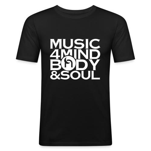 Music 4 Mind, Body & Soul White - Men's Slim Fit T-Shirt
