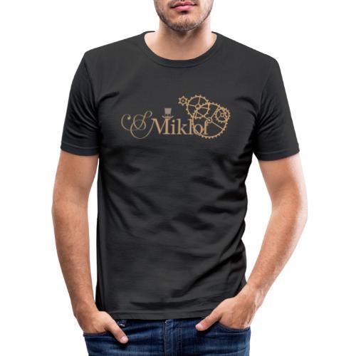 miklof logo gold outlined 3000px - Men's Slim Fit T-Shirt