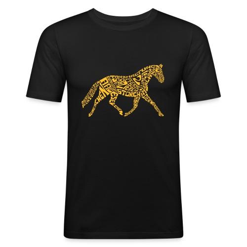 Körpertraining Logo gelb - Männer Slim Fit T-Shirt