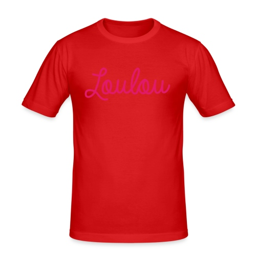 Logo-Roze - Mannen slim fit T-shirt