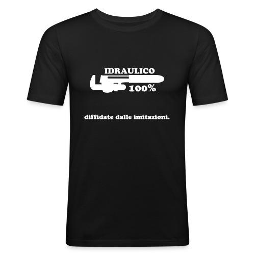 Idraulico 100% Logo XL BIANCO - Maglietta aderente da uomo