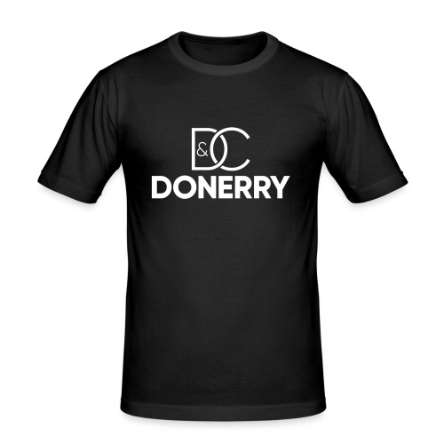 DONERRY New White Logo on Dark - Men's Slim Fit T-Shirt