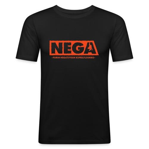 Kapea peruslogo Miehet - Miesten tyköistuva t-paita