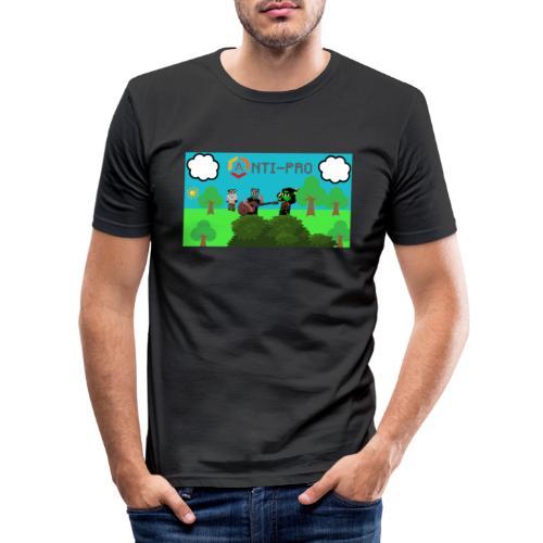 Maglietta Immagine Mario Anti-Pro - Maglietta aderente da uomo