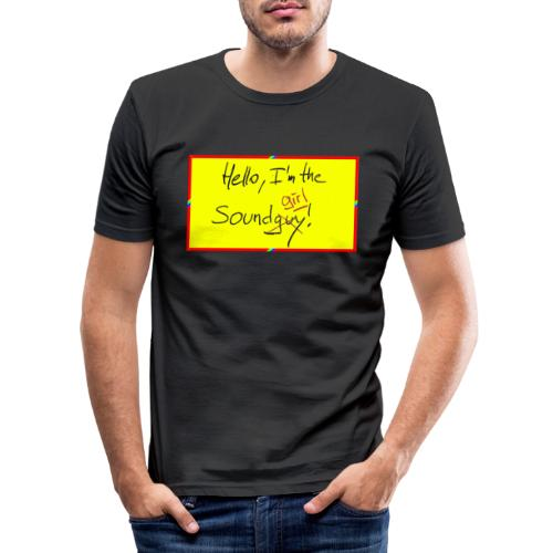 hello, I am the sound girl - yellow sign - Men's Slim Fit T-Shirt