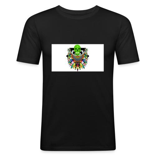 Colorful skull - Miesten tyköistuva t-paita