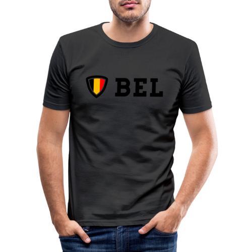 BEL Belgium Blason tricolore Football - T-shirt près du corps Homme