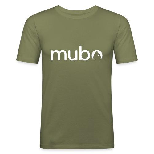 mubo logo Word White - Men's Slim Fit T-Shirt