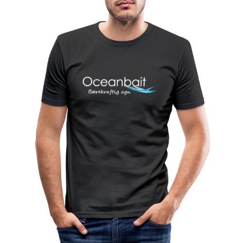 Oceanbait, hvit tekst - Slim Fit T-skjorte for menn