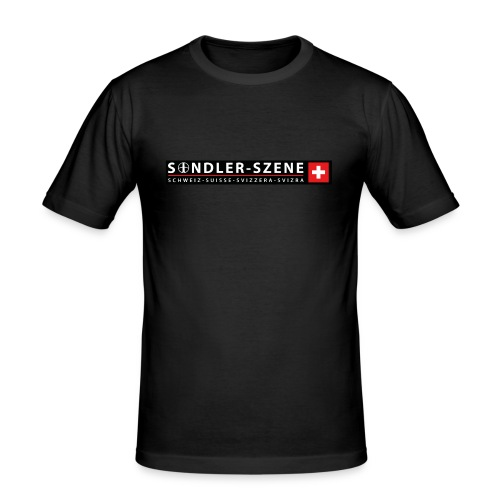 Logo schwarz - Männer Slim Fit T-Shirt