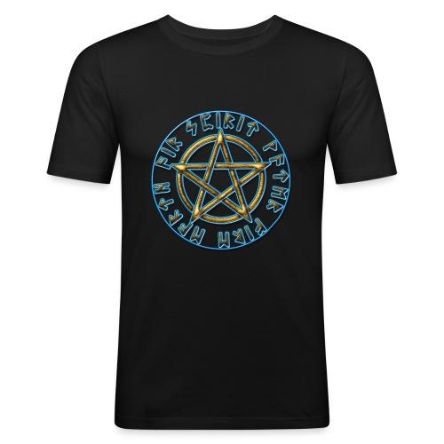Runen Pentagramm Elemente Schutz Amulett Magie - Männer Slim Fit T-Shirt