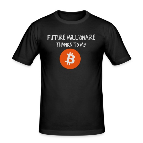 Future Millionaire, thanks to my Bitcoin - Männer Slim Fit T-Shirt