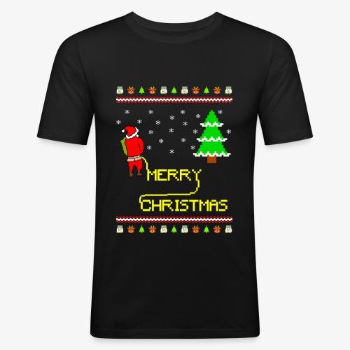 Merry Christmas Ugly Xmas Lustig Pinkelnder Santa - Männer Slim Fit T-Shirt