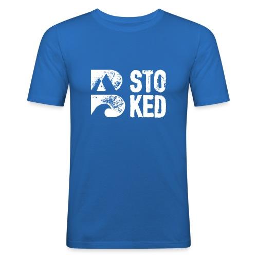 bstoked logo white - Men's Slim Fit T-Shirt