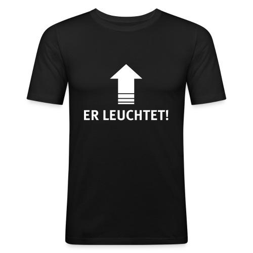 ER LEUCHTET! | Veranstaltungstechniker | Technik - Männer Slim Fit T-Shirt