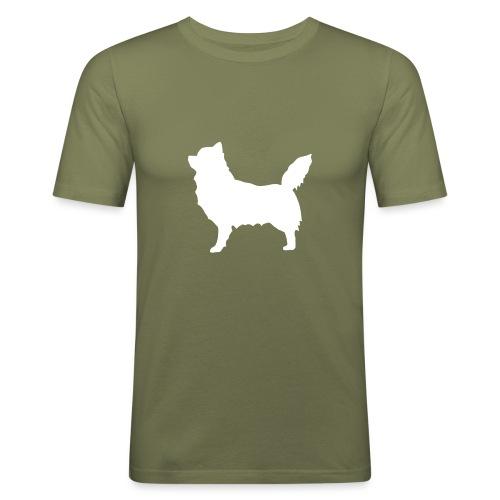 Chihuahua pitkakarva valkoinen - Miesten tyköistuva t-paita