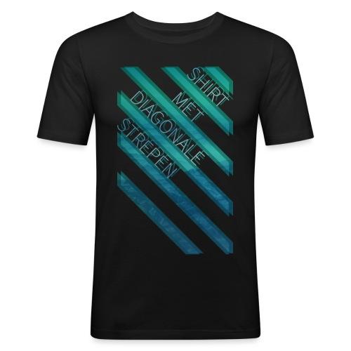 Diagonale strepen - slim fit T-shirt