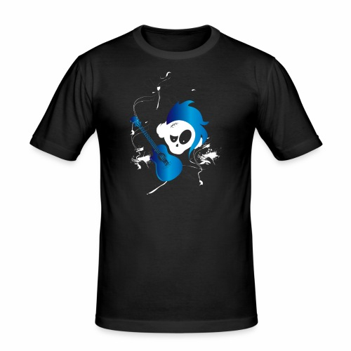 Eves Adam || Hairy Guitar Skully Blue - Männer Slim Fit T-Shirt