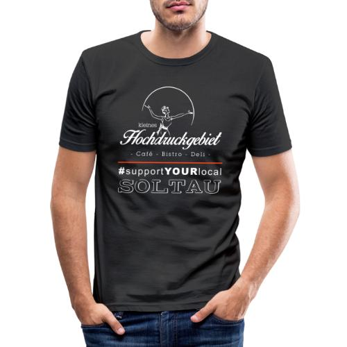 Logo support your local weiss - Männer Slim Fit T-Shirt