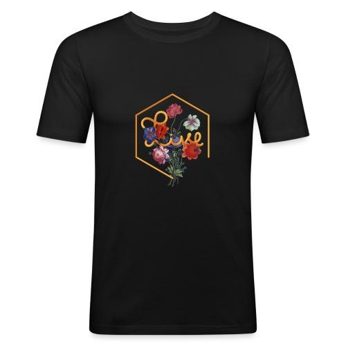 Typographie florale du mot Vivre en anglais - T-shirt près du corps Homme