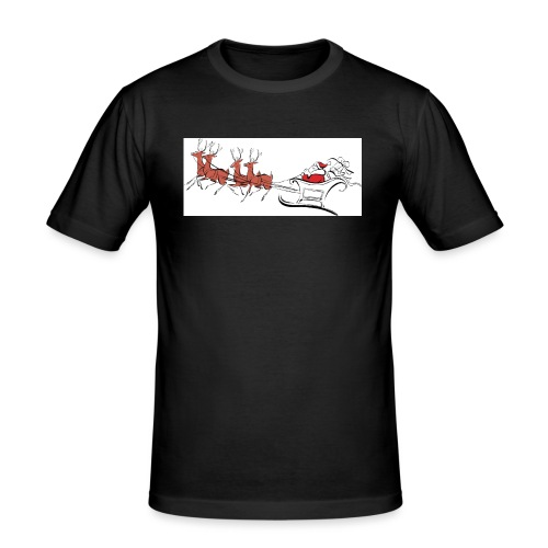 pictures-of-santa-and-reindeer-UDuZhz-clipart - Men's Slim Fit T-Shirt