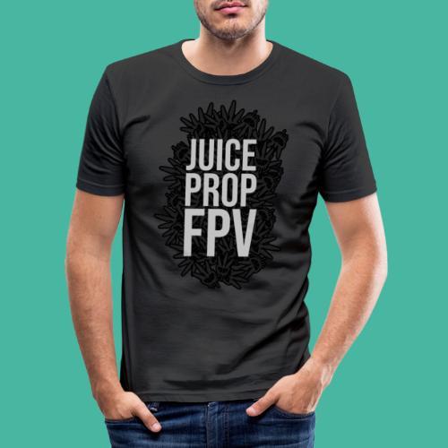 JuicePropFPV LOGO Pile TEXT Black - Männer Slim Fit T-Shirt