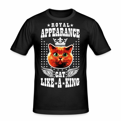20 Royal Appearance Red Cat like a King Crown - Männer Slim Fit T-Shirt