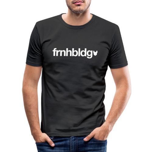 Französische Bulldogge Schriftzug mit Silhouette - Männer Slim Fit T-Shirt