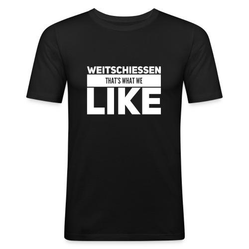 Weitschiessen Schriftzug Weiss - Männer Slim Fit T-Shirt