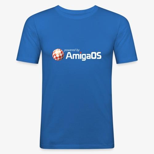 PoweredByAmigaOS white - Men's Slim Fit T-Shirt