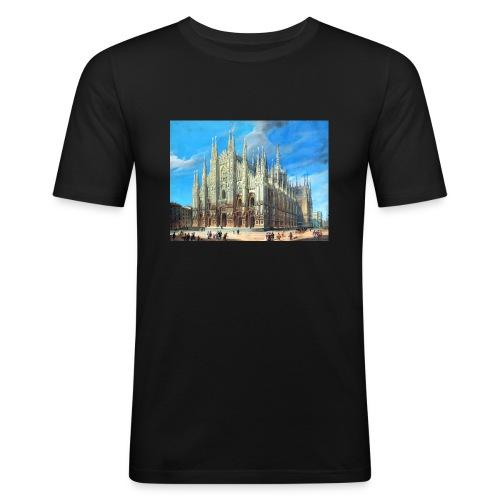Duomo di Milano dipinto - Maglietta aderente da uomo