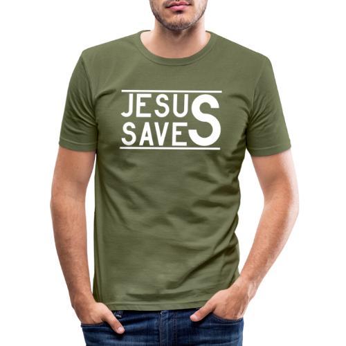 Jesus Saves - Männer Slim Fit T-Shirt