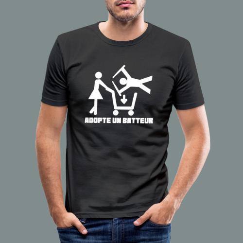 Adopte un batteur - idee cadeau batterie - T-shirt près du corps Homme