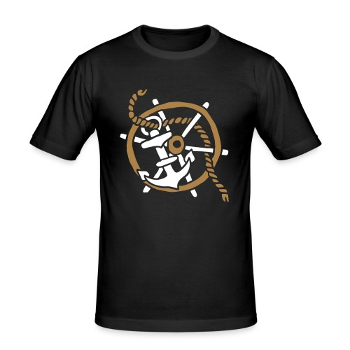 Anker Seemann Anchor Sailor Tattoo Oldschool SOS - Männer Slim Fit T-Shirt
