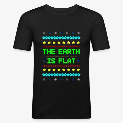 Earth is flat Ugly Christmas - Männer Slim Fit T-Shirt