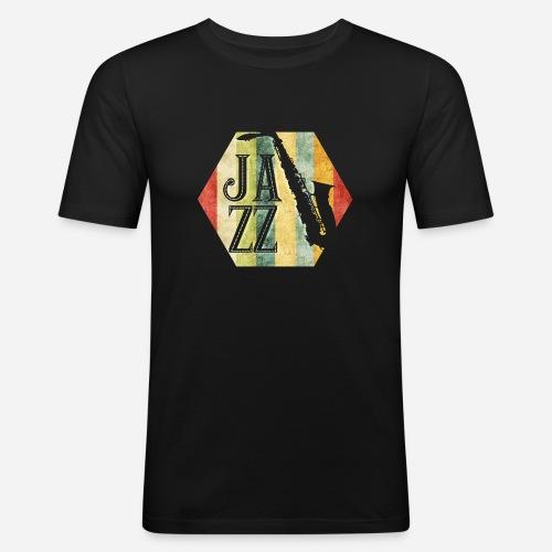 Jazz Retro Sechseck mit Saxophon - Männer Slim Fit T-Shirt