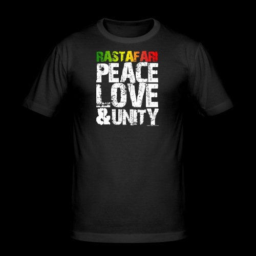 RASTAFARI - PEACE LOVE & UNITY - Männer Slim Fit T-Shirt