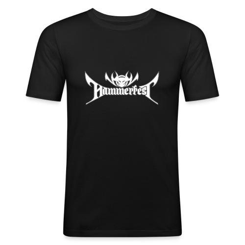 Hammerfest Logo Weiss - Männer Slim Fit T-Shirt