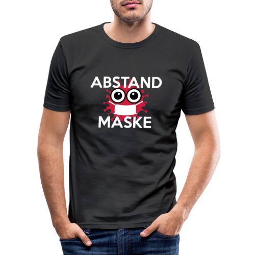Mit Abstand und Maske gegen CORONA Virus- weiss - Männer Slim Fit T-Shirt
