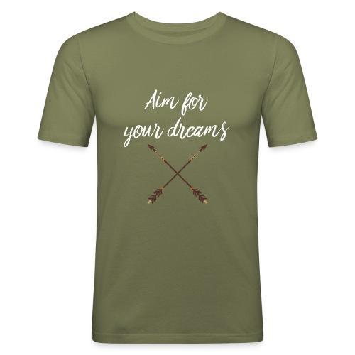 Aim for your Dreams white - Miesten tyköistuva t-paita
