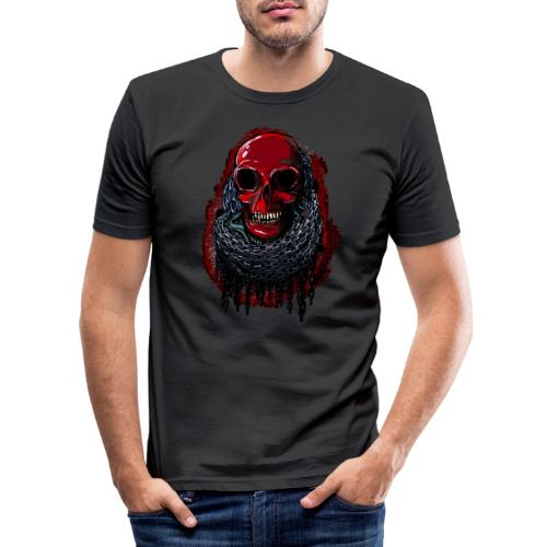 Red Skull in Chains - Men's Slim Fit T-Shirt