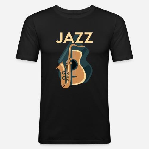 Jazz Gitarre mit Saxophon - Männer Slim Fit T-Shirt