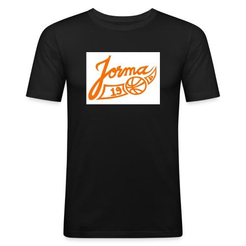 jormas logo oranssi - Miesten tyköistuva t-paita