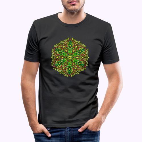 Fire Lotus Mandala - Slim Fit T-shirt herr