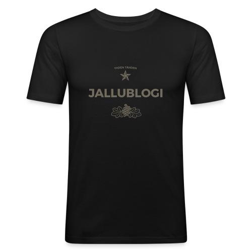 Jallublogi muki valkoinen - Miesten tyköistuva t-paita