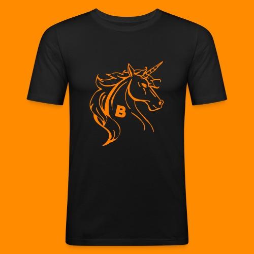 orange biodusty unicorn shirt - Mannen slim fit T-shirt