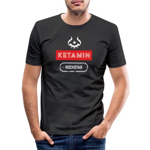 KETAMIN Rock Star - Weiß/Rot - Modern - Men's Slim Fit T-Shirt
