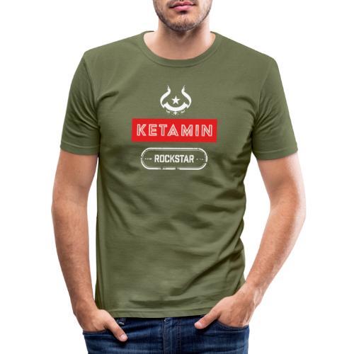 KETAMIN Rock Star - White/Red - Modern - Men's Slim Fit T-Shirt