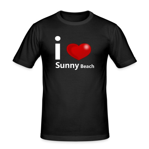 I love Sunny Beach 2 (white print) - Mannen slim fit T-shirt